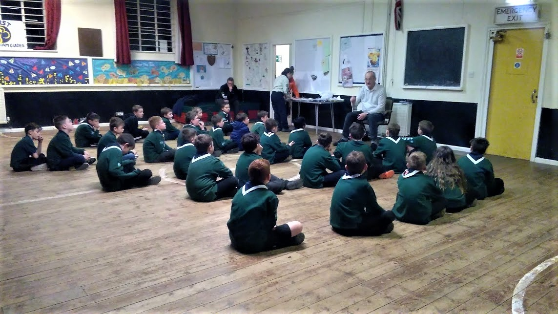 Julian M0NUX gives an interesting talk to the Derham Cub Scouts on the Bittern DX Group's Educational Outreach Project
